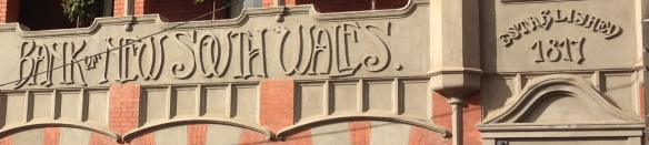 Typography on old Bank of NSW buildings in Kyneton, Victoria