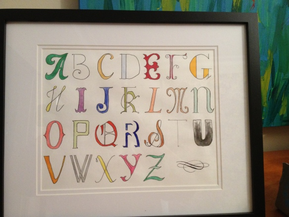 Hand drawn and painted alphabet