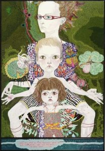 2008 Kathryn Del Barton, artist You are what is most beautiful about me, a self portrait with Kell and Arella, title